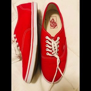 Vans Red Canvas Slides Shoes Sneakers 8.5